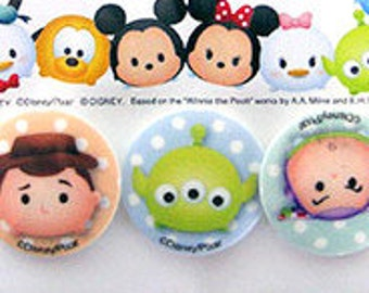 Disney Tsum Tsum Plastic sewing button set of 3 pieces 25 mm ( 0.98inch) in diameter