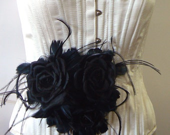 large black silk rose bridal belt - black roses -- goth black silk roses sash