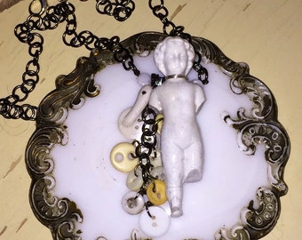 Antique Frozen Charlotte Doll Necklace with antique bone and shell button dangle Steampunk Victorian Inspired statement Oddities