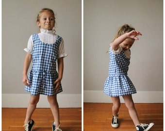 ON SALE 1970s Checkered Day Dress~Size 4t/5t