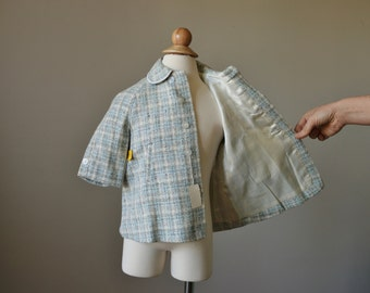 NOS, 1960s Spring Plaid Coat & Cap~Size 12 to 24 Months