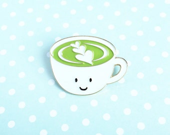 Matcha Latte Enamel Pin - cute cartoon green tea drink cup lapel