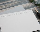 Simple Personalized Stationery Set   Custom Stationary Set    Elegant Black and White  Custom Note Card Gift Set   Sarah