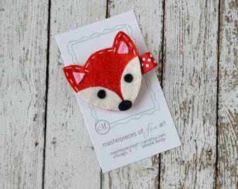 Red Fox Felt Hair Clip - Cute Animal Clippies - Animal Feltie Hair Clips - Hair Bows - Felt Hair Accessory for Girls
