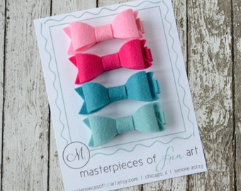 SPECIAL PRICE - 4 Felt Hair Bow Set - pink, fuschia, turquoise, aqua - felt bow hair clippies - felt hairbow set for Spring and Summer