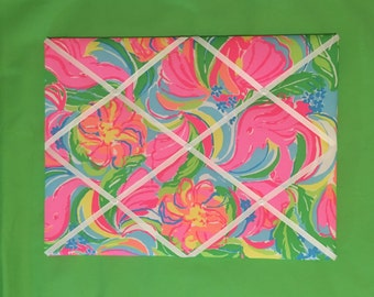 New memo board made with Lilly Pulitzer 2016 So A Peeling fabric