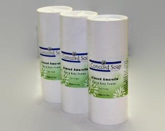 Almond Amaretto Handmade Hair & Body Powder - no talc, talc-free, powder deoderent, natural clays, dusting, bath,dry shampoo,prevent chafing