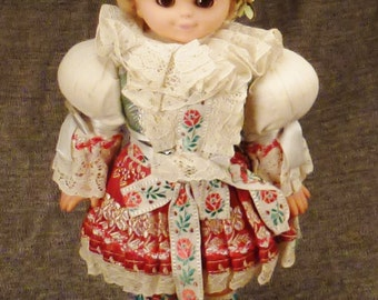 DOLL POLAND SLOVAKIA Handcrafted beautiful Girl Folk embroidered costume app 12 x4 x3 inches mint condition 1940s