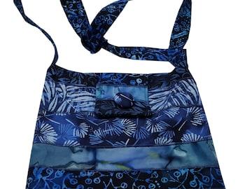 Large Cross Body Hip Purse in Blue Batik