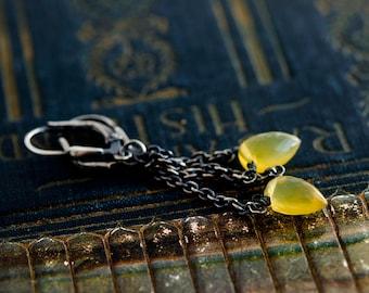 Gemstone Earrings, Opal Earrings, October Birthstone, Birthstone Jewelry, Fire Opal, Sterling Silver, Chandelier Earrings, PoleStar