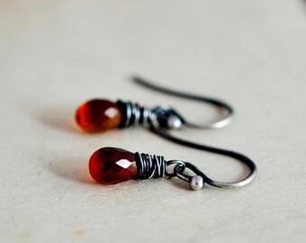 Garnet Earrings, Drop Earrings, Dangle Earrings, Wire Wrapped, Sterling Silver, January Birthstone, Crimson, Red, PoleStar, Dark Red