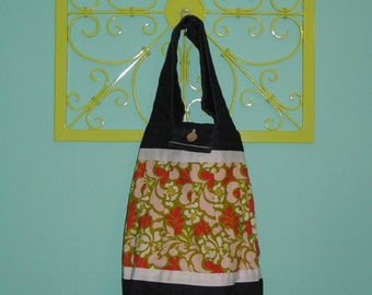 Denim and Floral Tote Bag