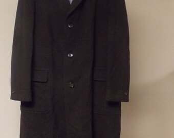 Vintage 60s black brown stripe wool long coat mens Crossland Worumbo Clothcraft 44/Large