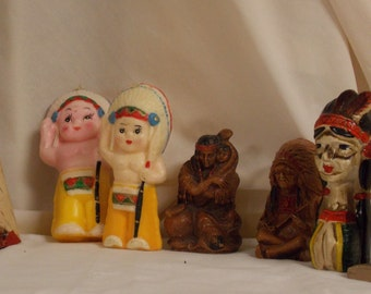 Vintage lot of American Indian figurines candles souvenirs/other detailed 7 piece