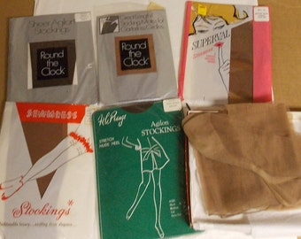 Vintage lot hosiery thigh high nylon stockings 8 1/2 to 9 & 1/2 unused/gentle used