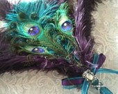 Ostrich and Peacock Feather Bridal Wand in Teal and Plum Purple Eggplant