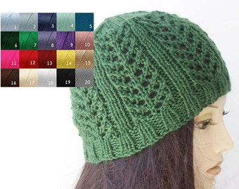 Custom Hand Knit Hat, Women's Boho Lace Hat, Vegan, Chose Color, Lace Beanie
