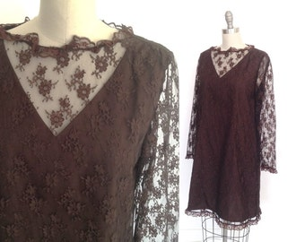 60s Mod Shift / Brown Lace 1960s Dress / A line Shift Dress / Alper Schwartz / Mad Men Party Dress / Prom Dress / Wedding Party / Large