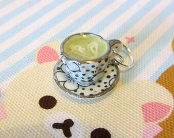 Matcha Latte Tea Cup Pendant - Realistic Miniature Food Charm
