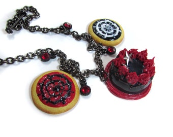 Gothic Layered Cake Charm Necklace - Realistic Polymer Clay Miniature Food Charms