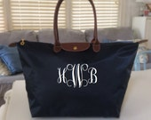 LARGE Personalized Nylon Tote Bag - BLACK - fold up style, monogrammed FREE - Preppy gift