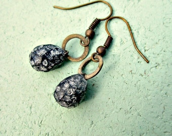 Dangle Earrings, Tiny Rustic Brass Hooks with Polymer Clay Teardrops: Lindsay