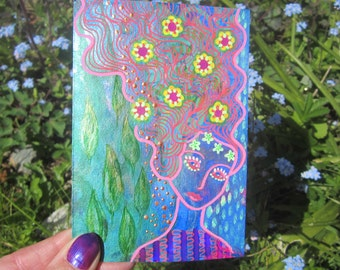 In the Pink, original mixed media painting 3.5 x 5ins. flowers, sparkles, wall art