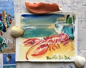 Original watercolor of a French Breton Lobster in Trouville. (#4)