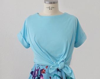 Bardot top in sky blue jersey