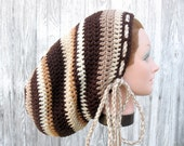 Hat for Dreadlocks - Large Crochet Rasta Tam for Long Dreads Dreadlocks Sock Hat - Shades of Brown