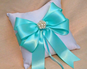 Aqua Ring Bearer Pillow - Ring Pillow - Ring Pillow Wedding - Aqua Wedding - Ringbearer - Pearl Ring Cushion - Custom Ring Pillow Colors