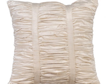 Decorative Throw Pillow Covers Accent Pillow Couch Sofa Bed Pillow 16x16 Ivory Velvet Pillow Cover Ivory Beauty Ruched Pillow