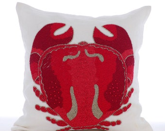 Sea Crab Decorative Throw Pillow Covers Couch Pillow Case Sofa Pillow Pillow 16x16 White Linen Pillow Cover Bead Embroidered Red Crab Craze