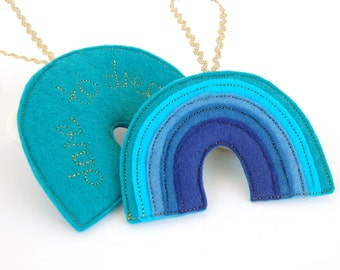 Rainbow Reminder - A Blue Rainbow Felt Decoration Stitched in Gold with the Positive Affirmation, Dare to Dream Throat Chakra Colour Therapy