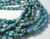 Vivid Natural Kingman Arizona Turquoise Beads,  Small Oval Nugget Turquoise,  Olive beads, Buy More And Save 16 Inches