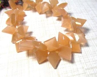25% Off SALE Chatoyant Peach Moonstone Diamond Briolette  Beads , 8 Inches, 11mm 12mm 13mm 14mm Briolette Beads