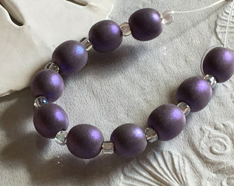 Shimmering Purple Sea Pearls Handmade Lampwork Glass Beads SRA