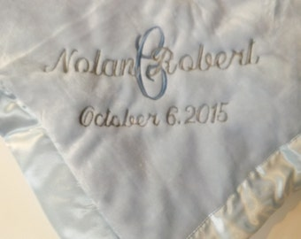 Personalized Baby Boy Gift Set, Keepsake Blanket, Bib and Burp Cloth with Name and Date, Super Soft Blankie