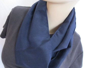 SALE - Navy Blue Silk Blend Cowl/Circle Scarf/Infinity Scarf (4714)
