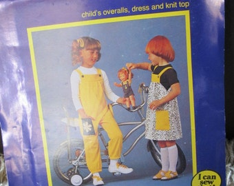 Uncut 1984 Knitwit Pattern 6200 - Childs Overalls, Dress, and Knit Top