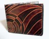 Leather Wallet - Thin Bi-fold with Art Deco Design - Men's Leather Wallet