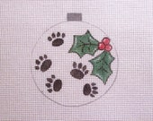 Dog Paw Prints w/Holly and Berries Handpainted Needlepoint Canvas Christmas Ornament