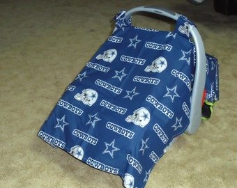 Dallas Cowboy print with lining infant car seat canopy--seat not included