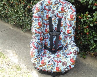 Pirates toddler car seat cover- car seat not included