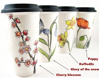 Handmade pottery travel mug, to go mug, floral design coffee mug, coffee mug with lid - In stock