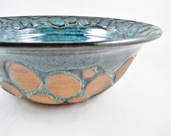 pottery serving bowl, stoneware serving dish,  teal blue pottery bowl, river rock design - In stock SB044C