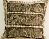 decorative pillow, cushion cover, cat, pillow cover, sofa cushion, linocut, black, beige, textile, geometric, danish design, home interior