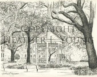 Whitefield Square Savannah Wedding Gazebo - Black and White Pen and Ink Print