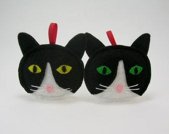 Tuxedo Cat Christmas Ornament in Black and White // Holiday Ornament // Wonderful Gift for the Pet Lover