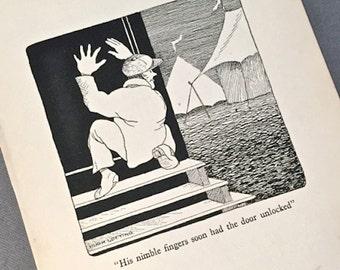 DR DOLITTLE illustration Nimble Fingers robber . Vintage Childrens Book Illustration 1920 . Hugh Lofting illustration lock picker circus